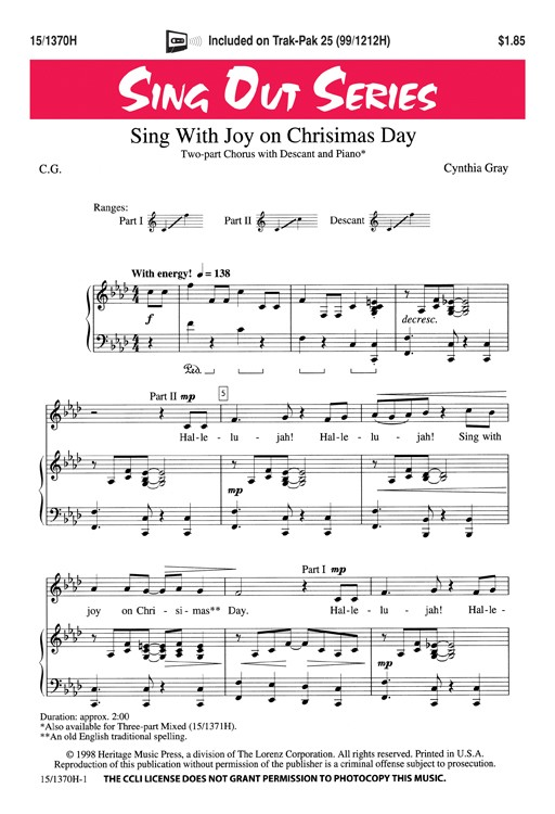 Sing With Joy on Chrisimas Day