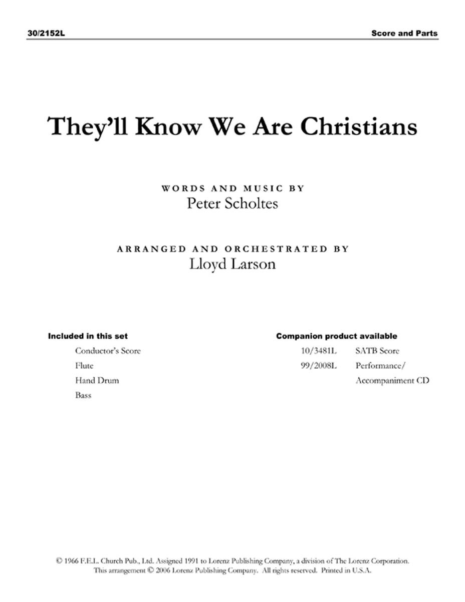 They'll Know We Are Christians - Flute, Bass and Perc. Score/Parts