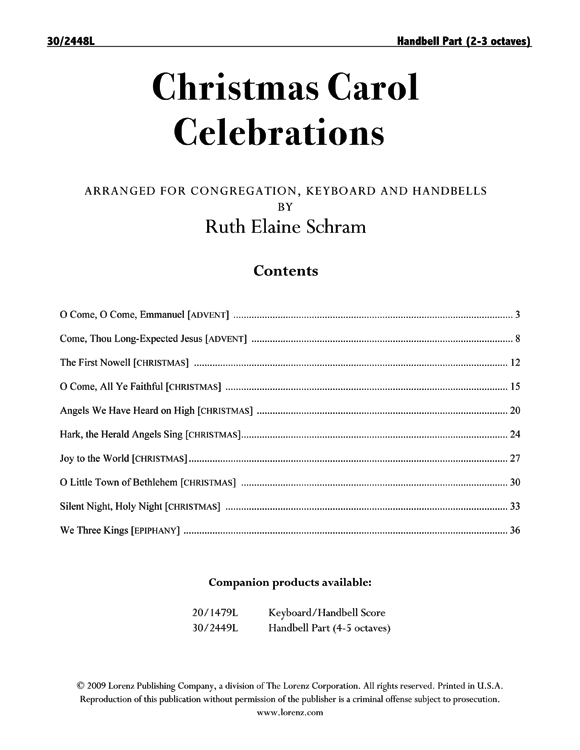 Christmas Carol Celebrations - Reproducible Handbell Part (2-3 octaves)