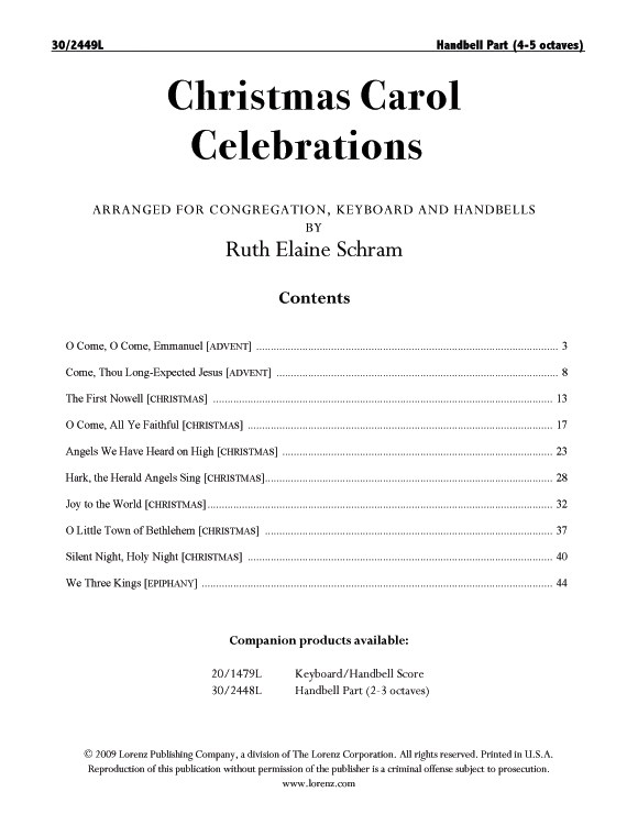Christmas Carol Celebrations - Reproducible Handbell Part (4-5 octaves)