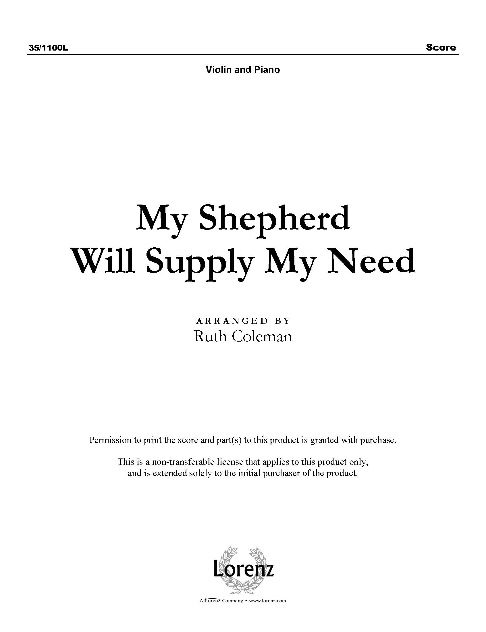 My Shepherd Will Supply My Need (Digital Delivery)