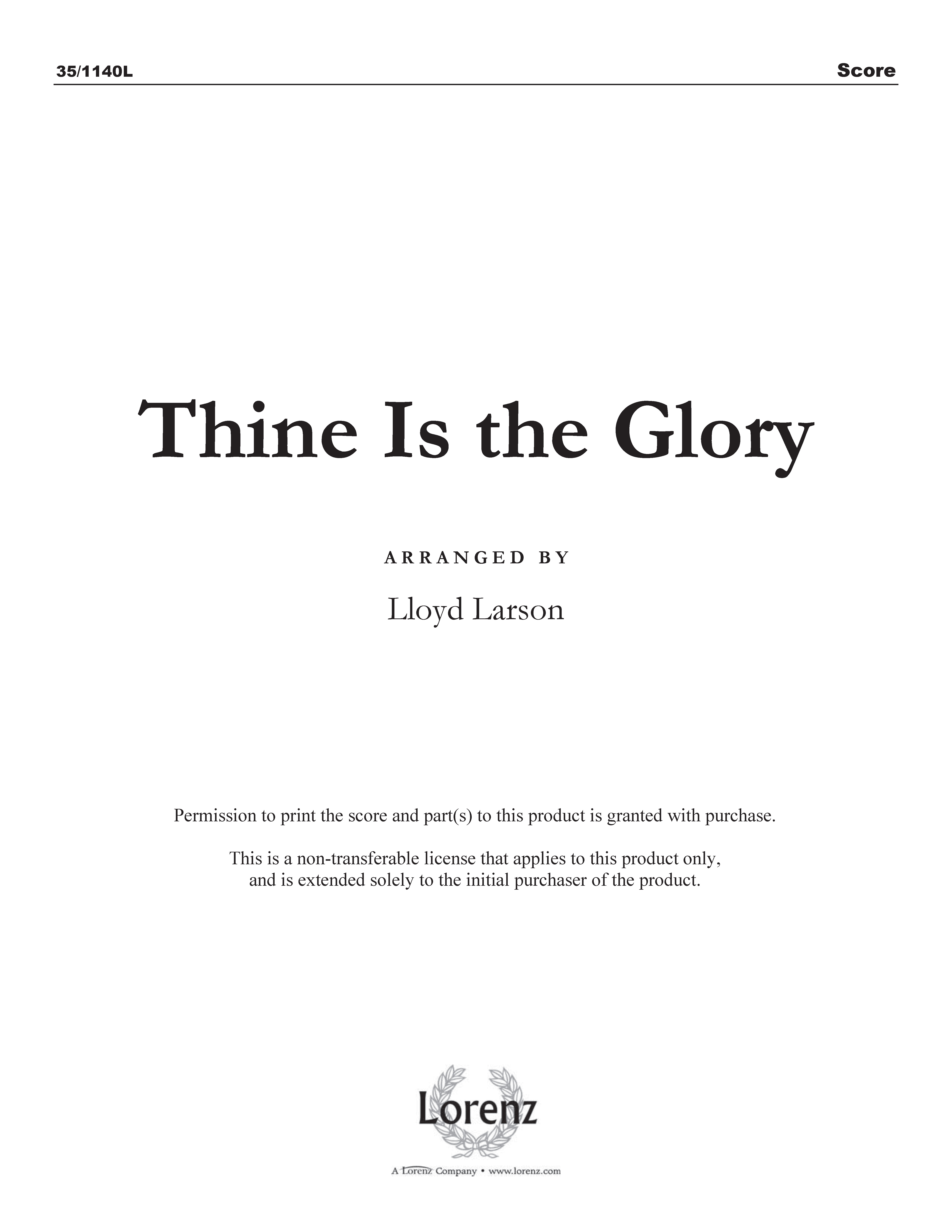 Thine Is the Glory (Digital Delivery)