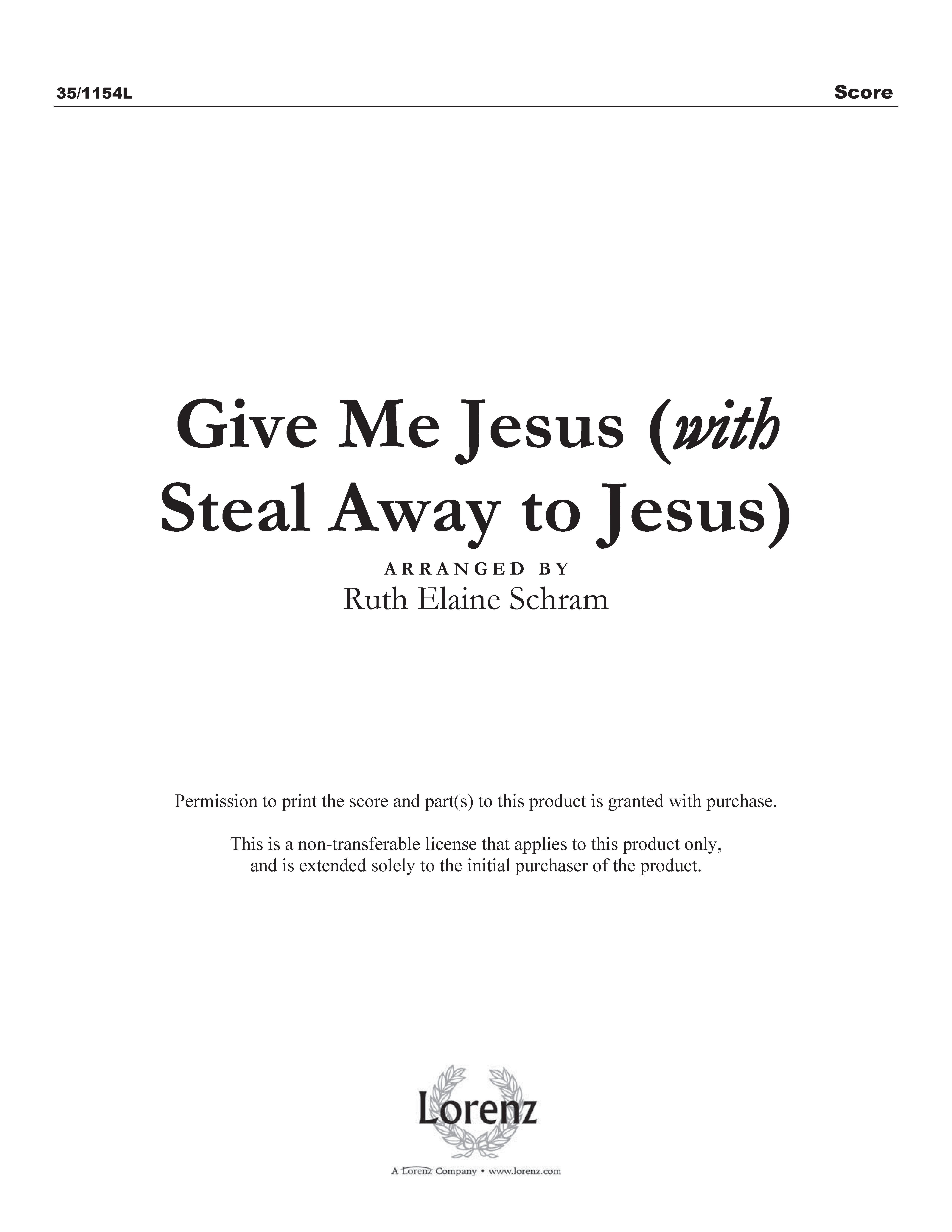 Give Me Jesus with Steal Away to Jesus (Digital Delivery)