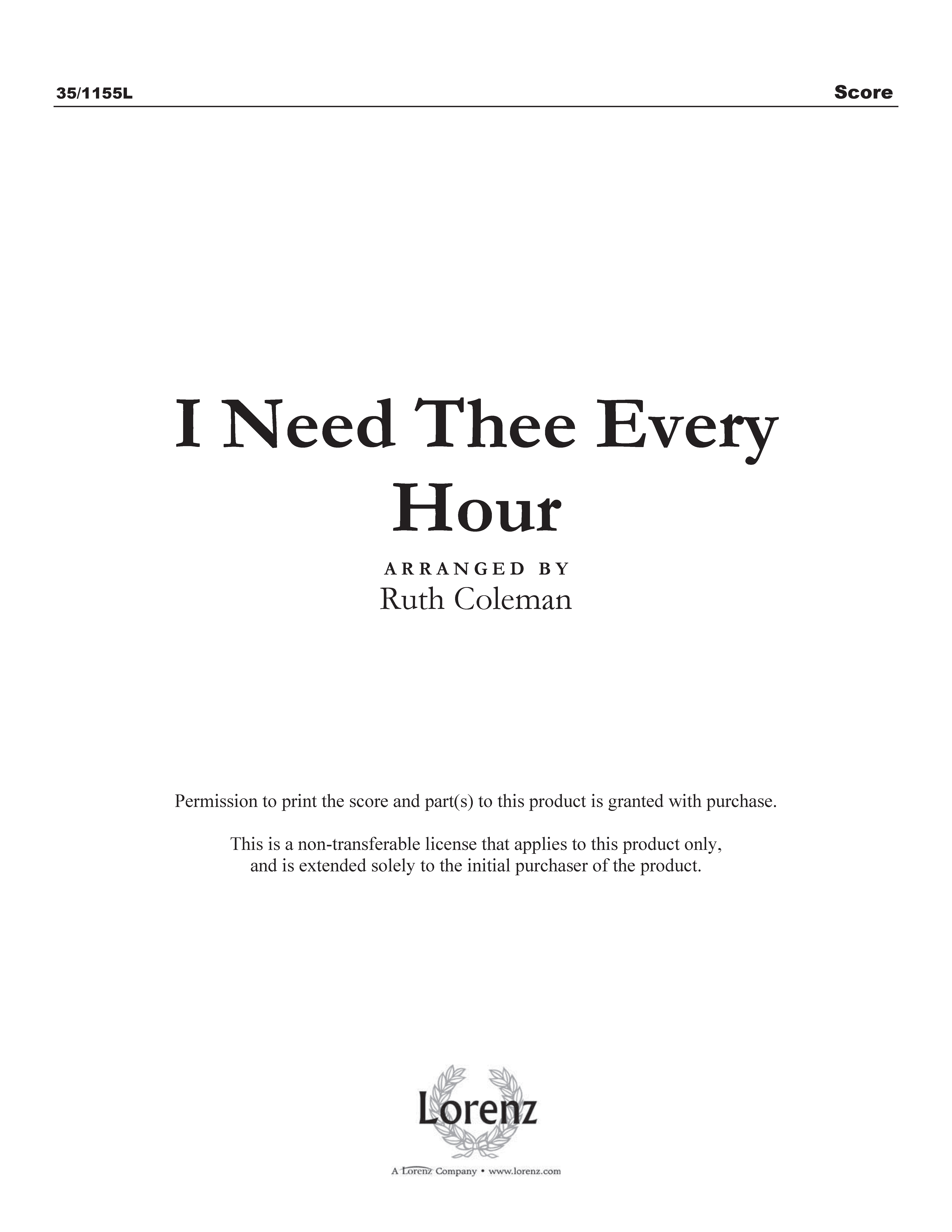 I Need Thee Every Hour (Digital Delivery)