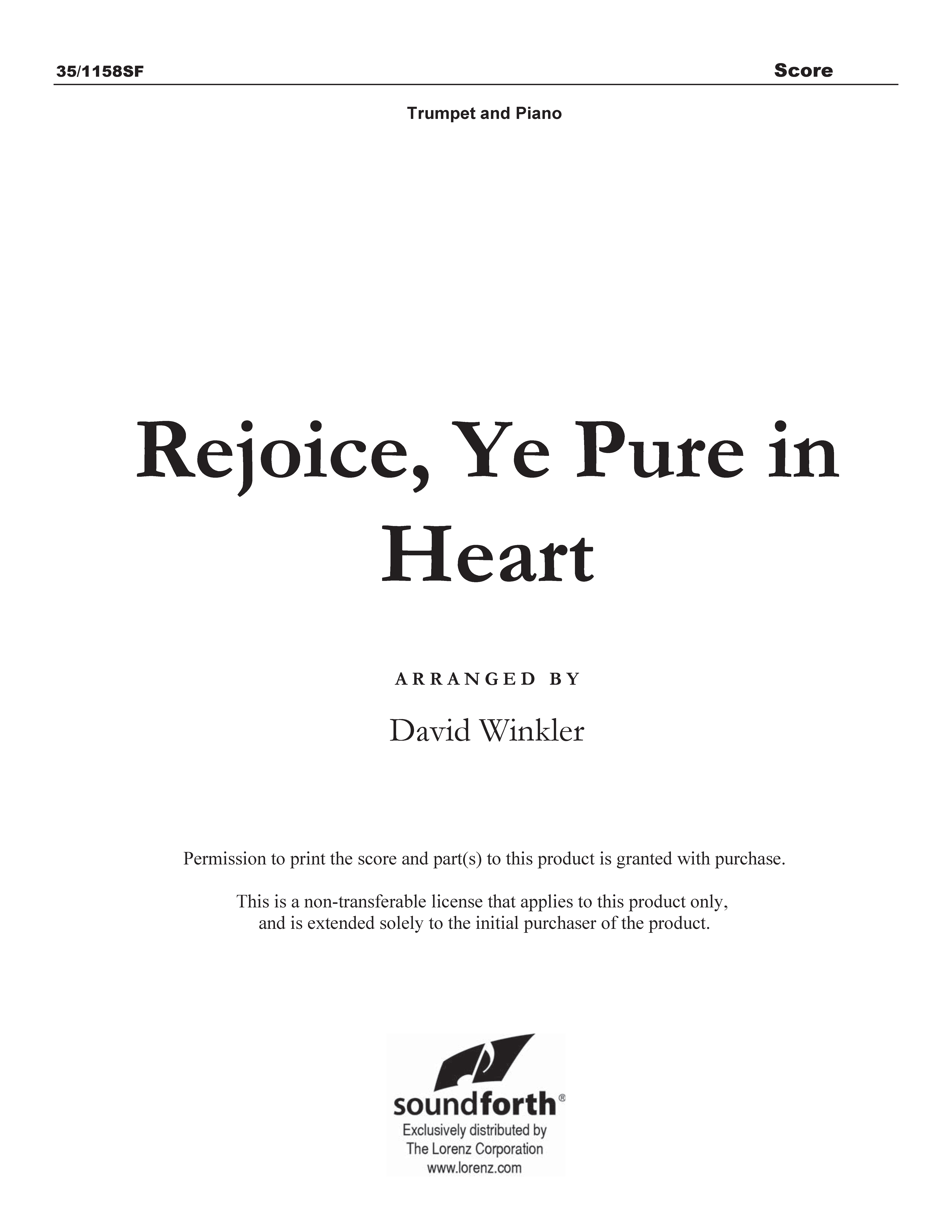 Rejoice, Ye Pure in Heart (Digital Delivery)