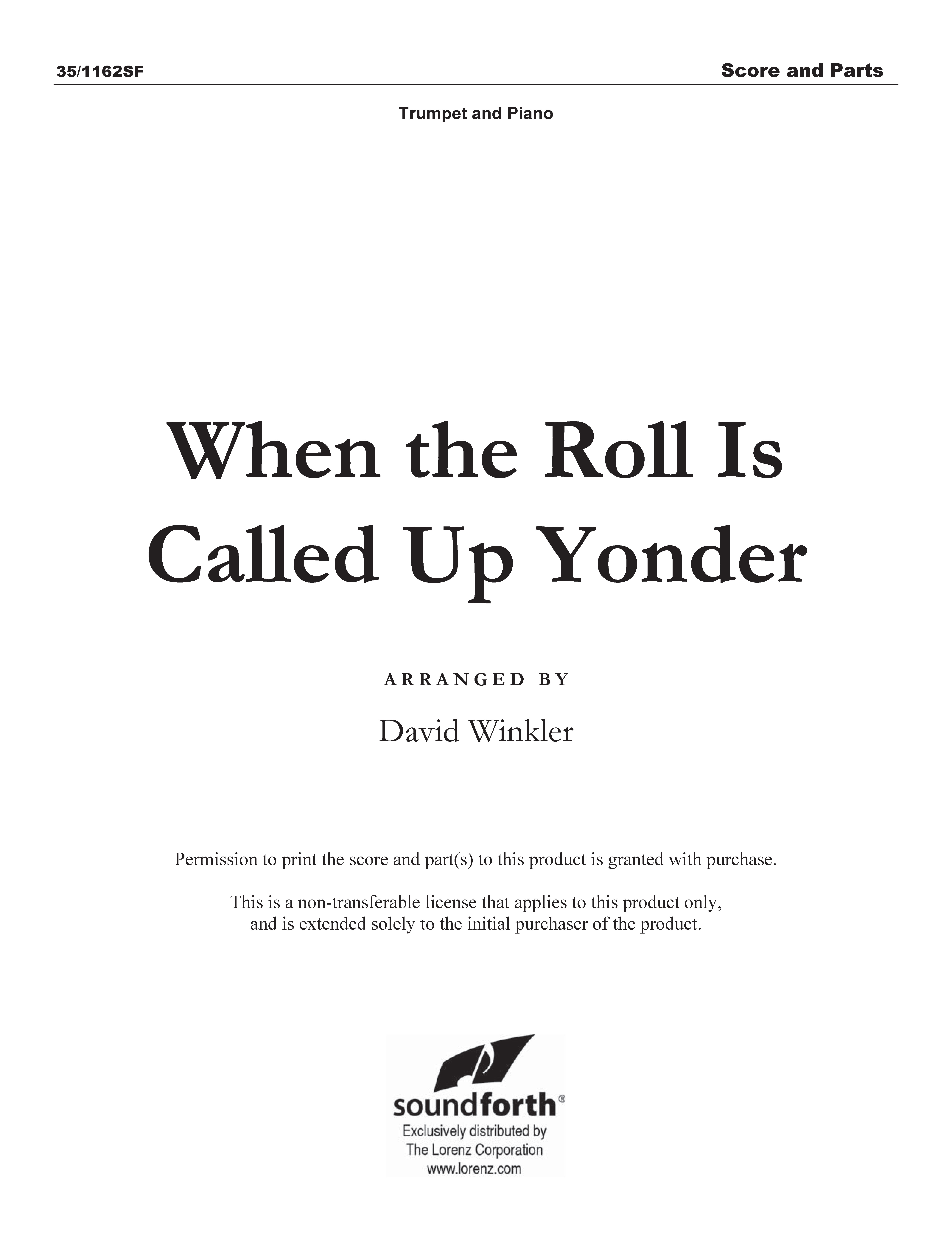 When the Roll Is Called Up Yonder (Digital Delivery)