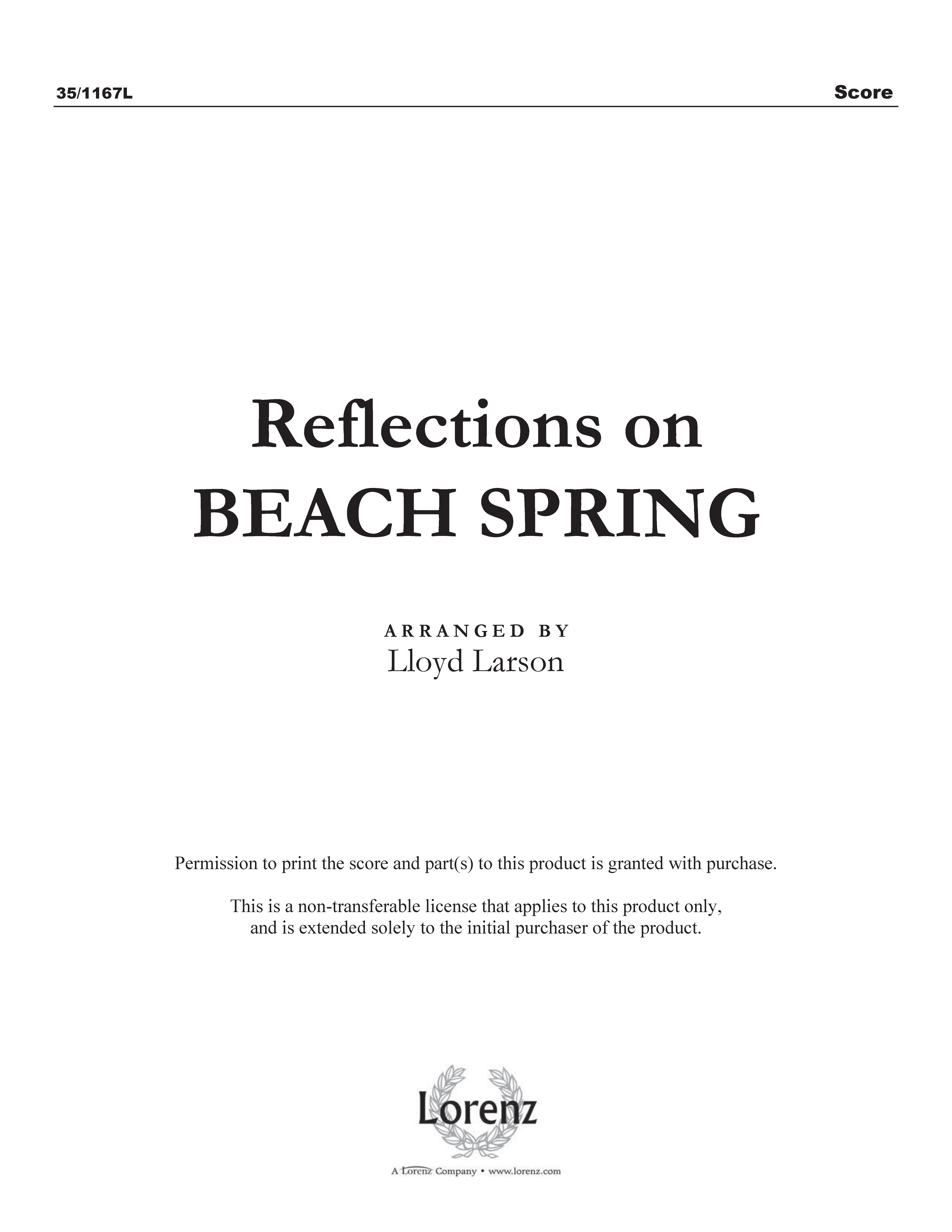 Reflections on Beach Spring (Digital Delivery)