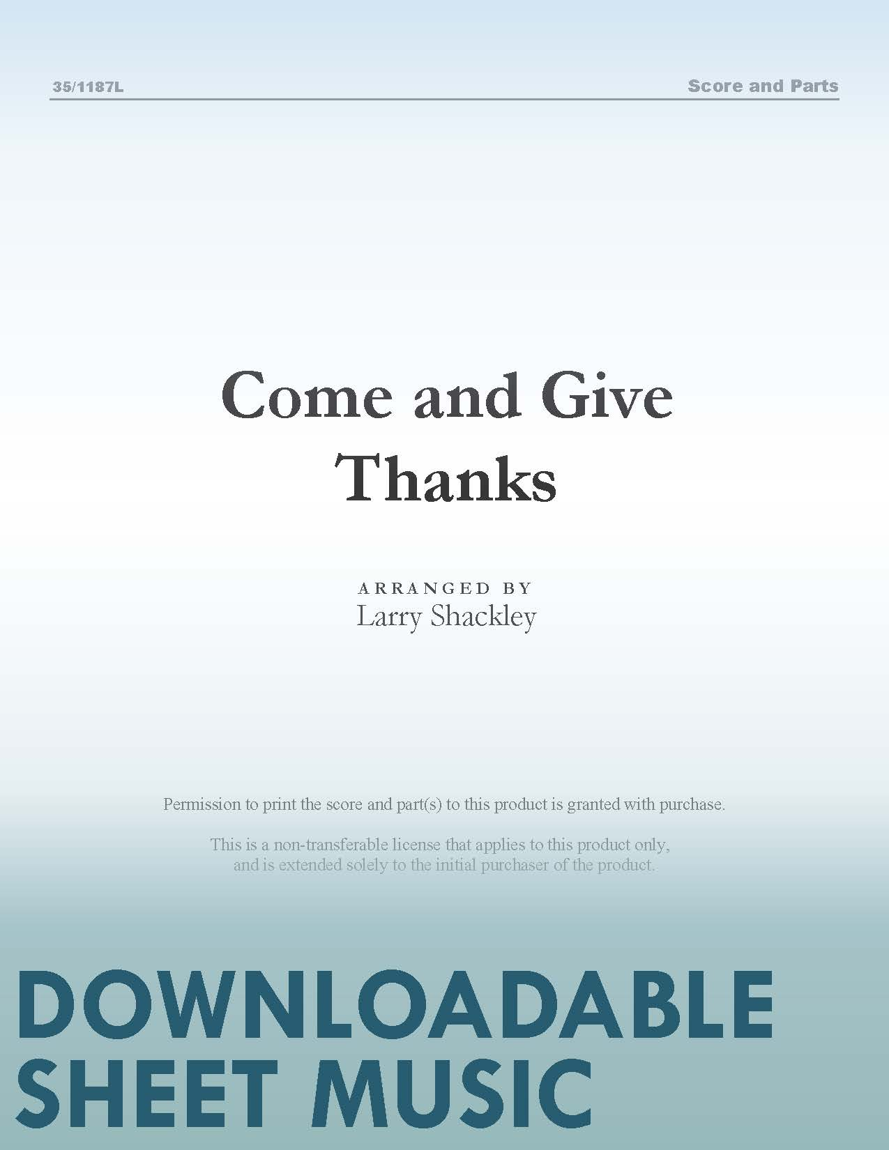 Come and Give Thanks (Digital Delivery)