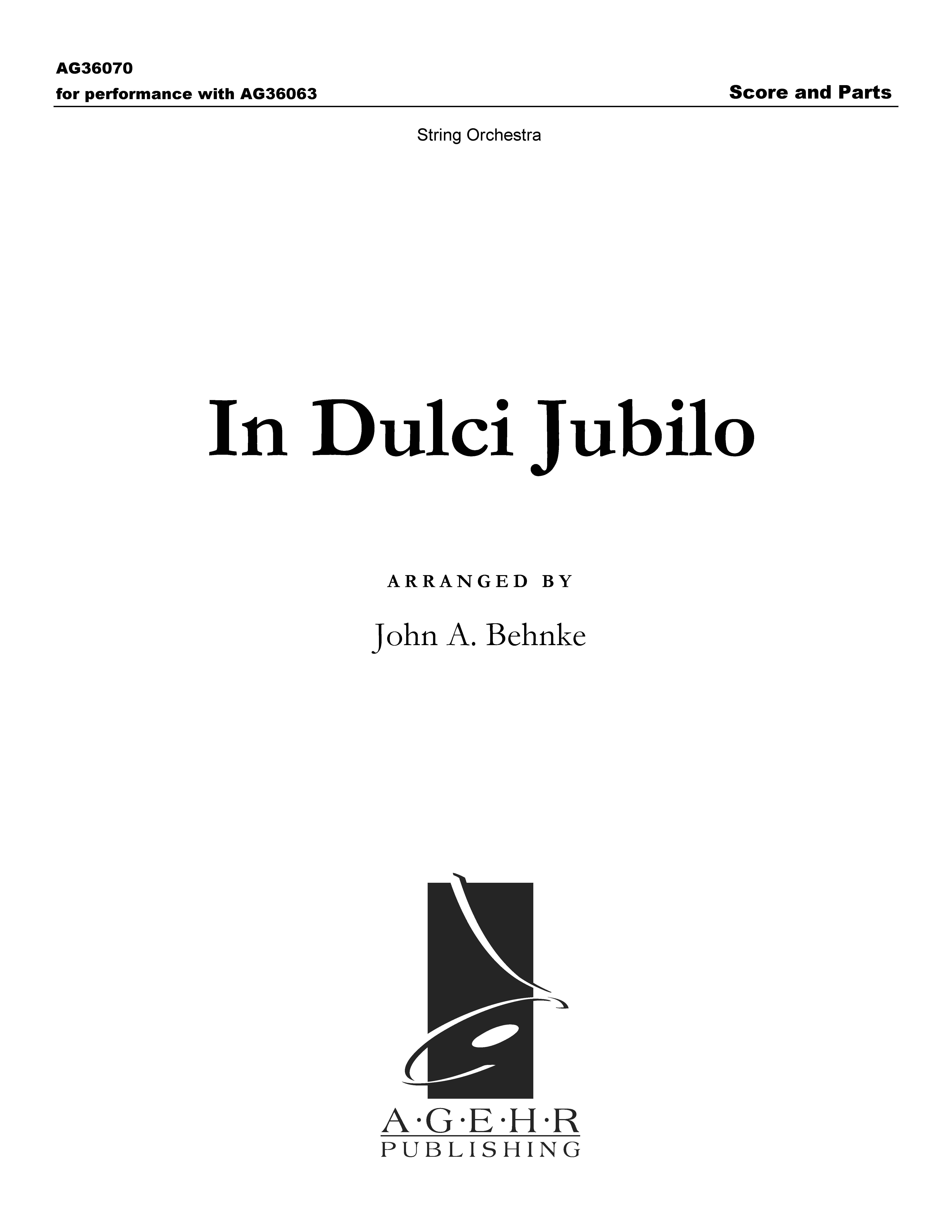 In Dulci Jubilo - String Score and Parts