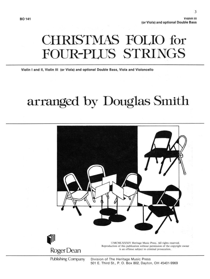 Christmas Folio for Four-Plus Strings - Vln/Bass