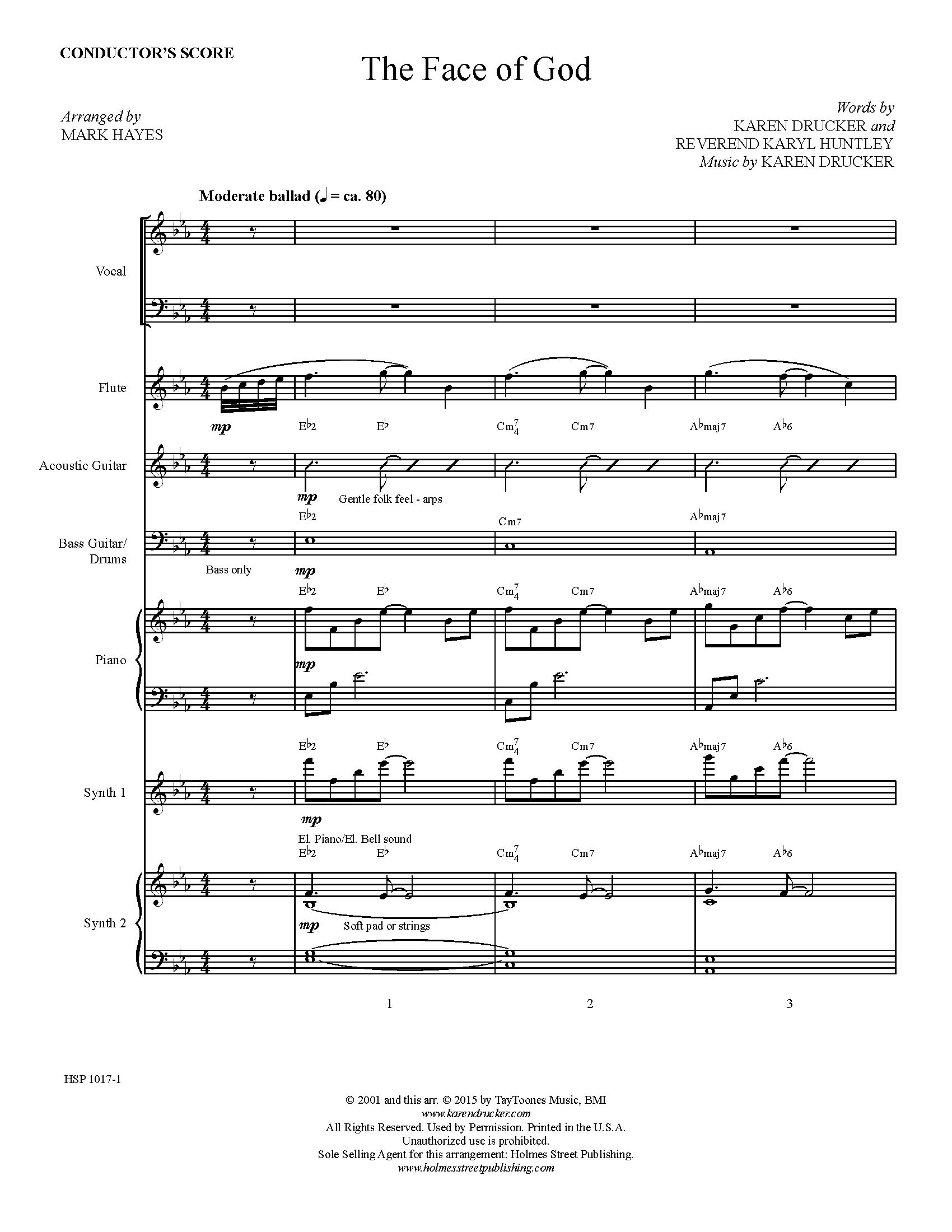 The Face of God - Instrumental Score and Parts