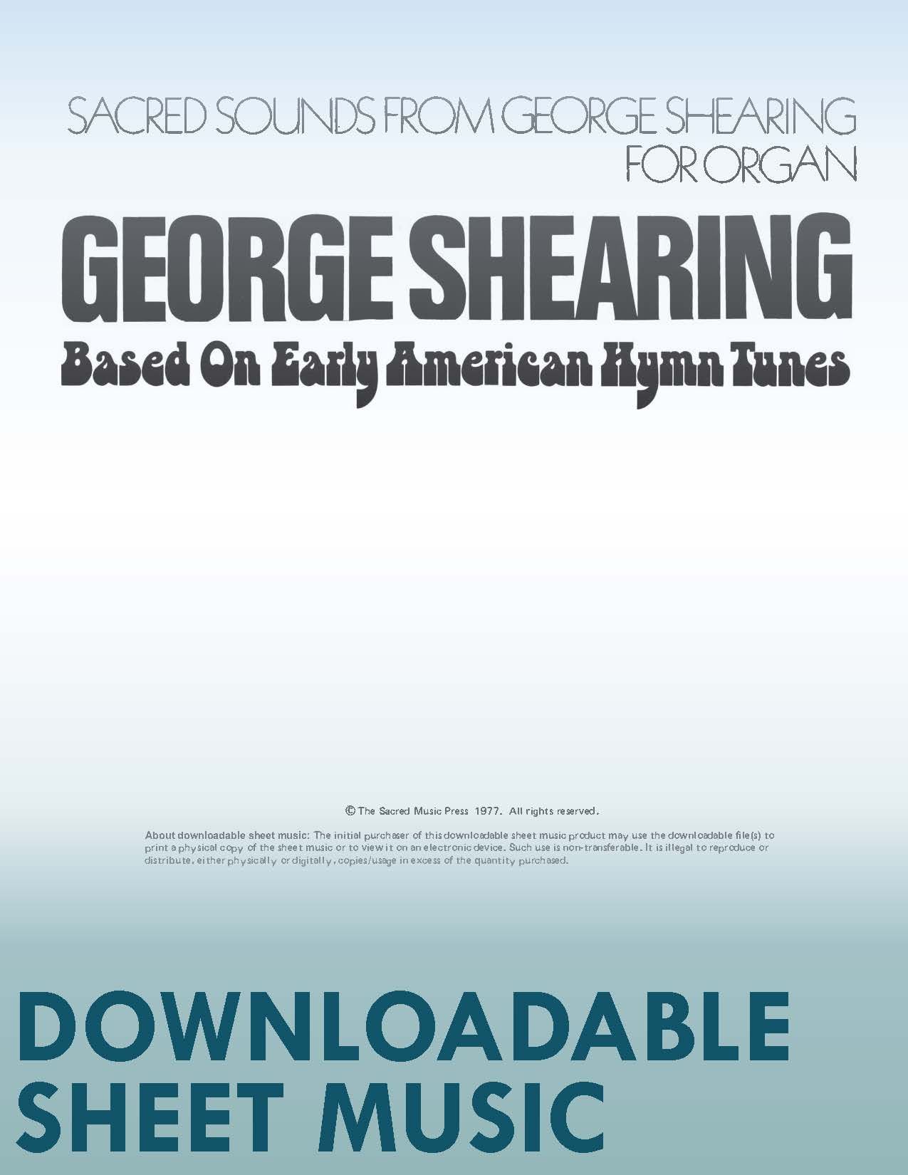 Sacred Sounds from George Shearing For Organ - Digital Download