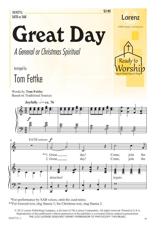 Great Day : SATB : Tom Fettke : Tom Fettke : Sheet Music : 10-4271L : 9781429129589