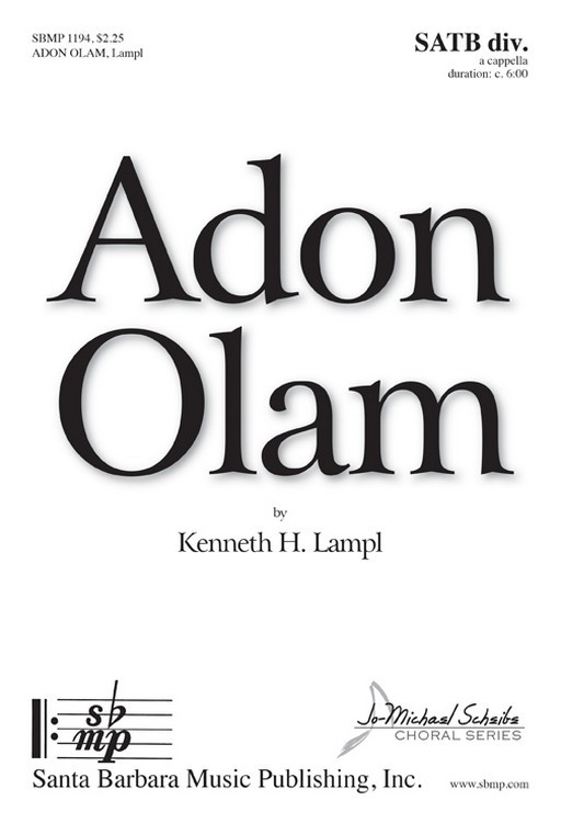 Adon Olam : SATB divisi : Kenneth Lampl : Kenneth Lampl : Sheet Music : SBMP1194 : 608938359889
