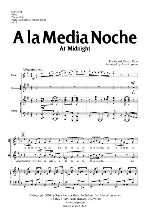 A la Media Noche : SSAA : Joan Szymko : Joan Szymko :  1 CD : SBMP304 : 964807003049